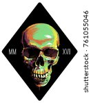 abstract illustration of skull... | Shutterstock .eps vector #761055046
