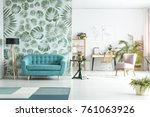spacious room with lamp next to ... | Shutterstock . vector #761063926