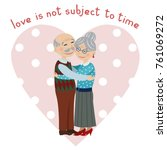 happy grandparents embrace.... | Shutterstock .eps vector #761069272