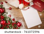 christmas wooden background... | Shutterstock . vector #761072596