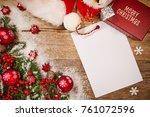 christmas wooden background... | Shutterstock . vector #761072596