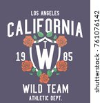 california wild rose graphic... | Shutterstock .eps vector #761076142