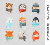 vector set of cute winter...   Shutterstock .eps vector #761092966