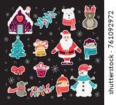 vector set of hand drawn... | Shutterstock .eps vector #761092972