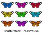 common tiger butterfly isolated ... | Shutterstock . vector #761096056