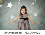 portrait of a happy little girl ... | Shutterstock . vector #761099422