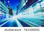 city street with binary code... | Shutterstock . vector #761100052
