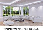 modern bright interiors. 3d... | Shutterstock . vector #761108368