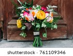 bouquet of brides   Shutterstock . vector #761109346