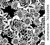 seamless monochrome pattern of... | Shutterstock .eps vector #761116546