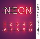 red neon character set on... | Shutterstock .eps vector #761117812