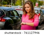 beautiful caucasian young woman ... | Shutterstock . vector #761127946