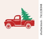red car with a christmas tree | Shutterstock .eps vector #761128348