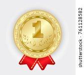 gold medal vector. golden 1st... | Shutterstock .eps vector #761128582