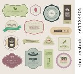 set of natural label and... | Shutterstock .eps vector #761134405
