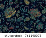paisley watercolor floral... | Shutterstock . vector #761140078