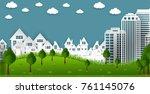 eco green city. environment... | Shutterstock .eps vector #761145076