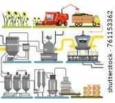 sunflower oil production... | Shutterstock .eps vector #761153362