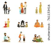 vector flat people characters... | Shutterstock .eps vector #761153416