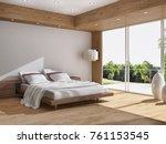 modern bright interiors. 3d... | Shutterstock . vector #761153545