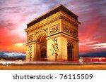 paris  famous arc de triumph at ... | Shutterstock . vector #76115509