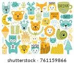 scandinavian kids doodles... | Shutterstock .eps vector #761159866