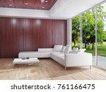 modern bright interiors. 3d... | Shutterstock . vector #761166475