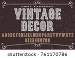 vintage font alphabet...   Shutterstock .eps vector #761170786