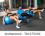 fitness people doing abs... | Shutterstock . vector #761172142