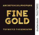 gold alphabet font. metallic... | Shutterstock .eps vector #761173852