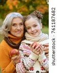 granny and granddaughter posing ... | Shutterstock . vector #761187682