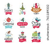 vector poster collection with... | Shutterstock .eps vector #761189332