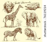 wild animals | Shutterstock .eps vector #76119214
