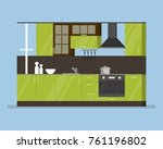 modern interior kitchen room in ... | Shutterstock .eps vector #761196802