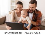 family  parenthood and people... | Shutterstock . vector #761197216