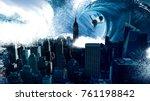 cinematic city destroyed... | Shutterstock . vector #761198842