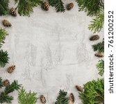 christmas background with fir... | Shutterstock . vector #761200252