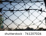 wire mesh fence with blue sky... | Shutterstock . vector #761207026
