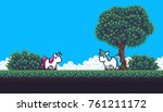 pixel art scene with treem... | Shutterstock .eps vector #761211172