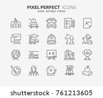 thin line icons set of academic ... | Shutterstock .eps vector #761213605