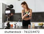 cheery healthy young girl... | Shutterstock . vector #761214472