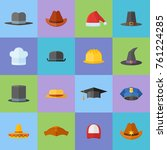 set of different hats flat... | Shutterstock .eps vector #761224285