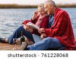 happy senior couple enjoying... | Shutterstock . vector #761228068