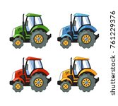 tractors set. 4 colors. vector... | Shutterstock .eps vector #761229376