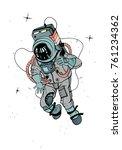 astronaut in spacesuit.... | Shutterstock .eps vector #761234362