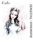 hand drawn beautiful girl with... | Shutterstock .eps vector #761235652