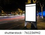 white advertisement lightbox at ... | Shutterstock . vector #761236942