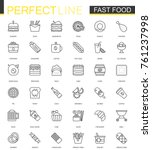 fast food thin line web icons... | Shutterstock . vector #761237998