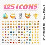 set of realistic cute icons on... | Shutterstock .eps vector #761250676