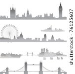 very detailed london skyline... | Shutterstock .eps vector #76125607